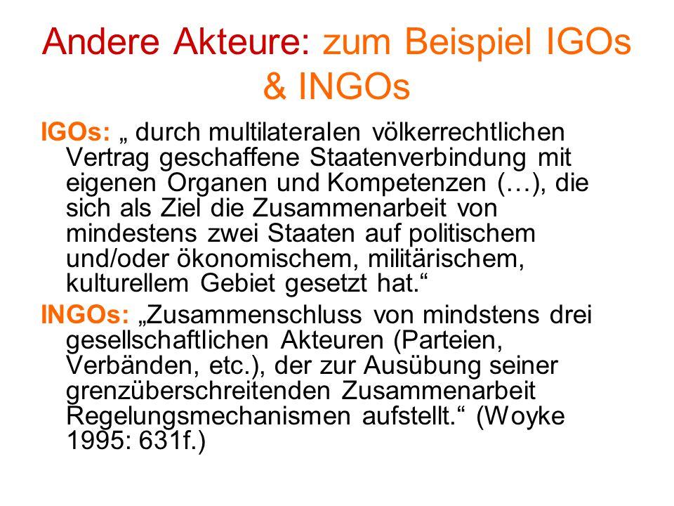 Andere Akteure: zum Beispiel IGOs & INGOs