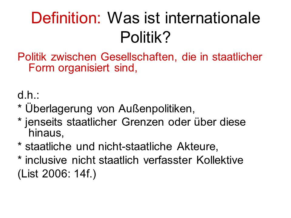 Definition: Was ist internationale Politik