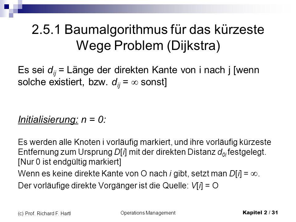 2.5.1 Baumalgorithmus für das kürzeste Wege Problem (Dijkstra)