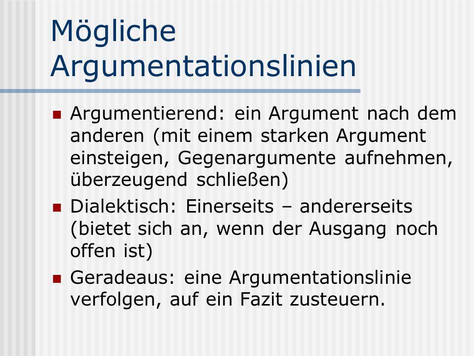 Mögliche Argumentationslinien
