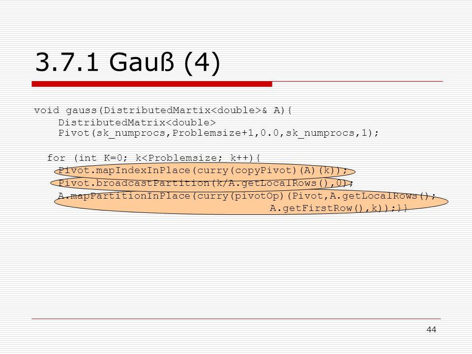 3.7.1 Gauß (4) void gauss(DistributedMartix<double>& A){