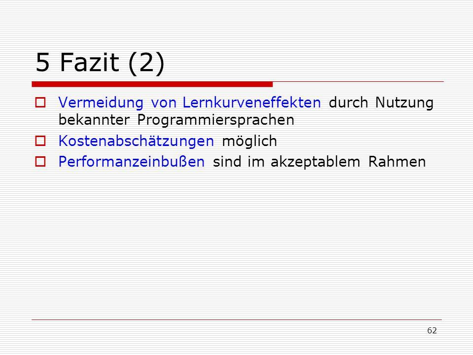 5 Fazit (2) Vermeidung von Lernkurveneffekten durch Nutzung bekannter Programmiersprachen. Kostenabschätzungen möglich.