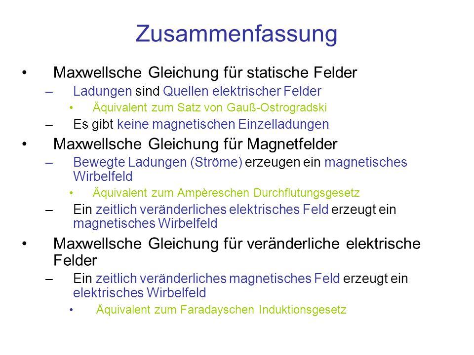 Zusammenfassung Maxwellsche Gleichung für statische Felder