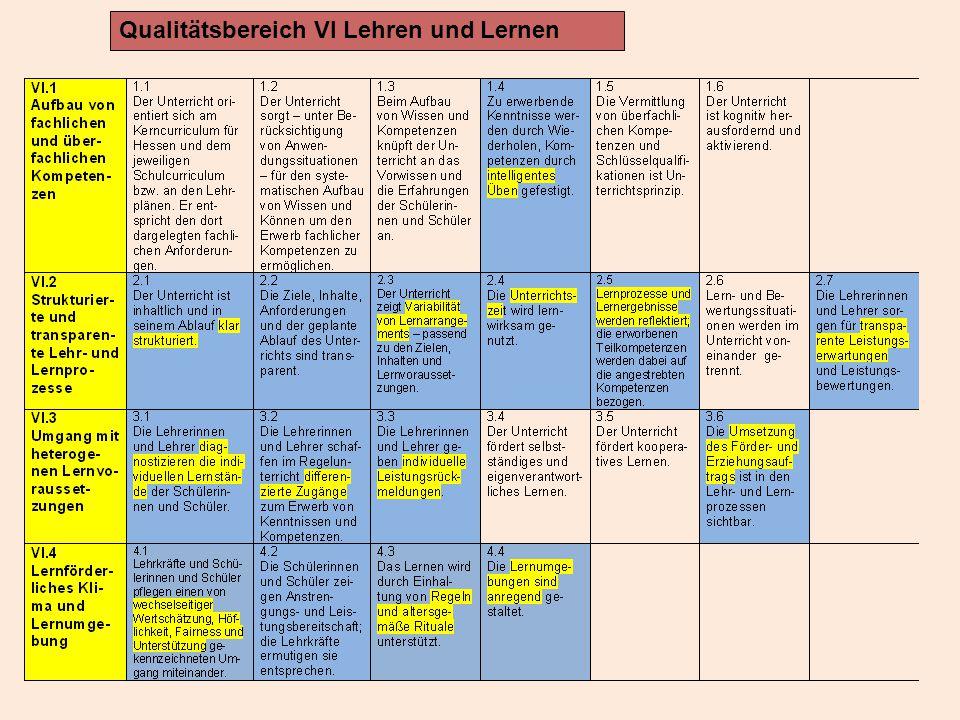 Qualitätsbereich VI Lehren und Lernen
