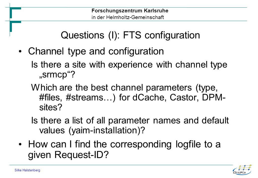 Questions (I): FTS configuration