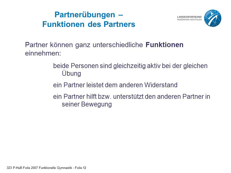Partnerübungen – Funktionen des Partners