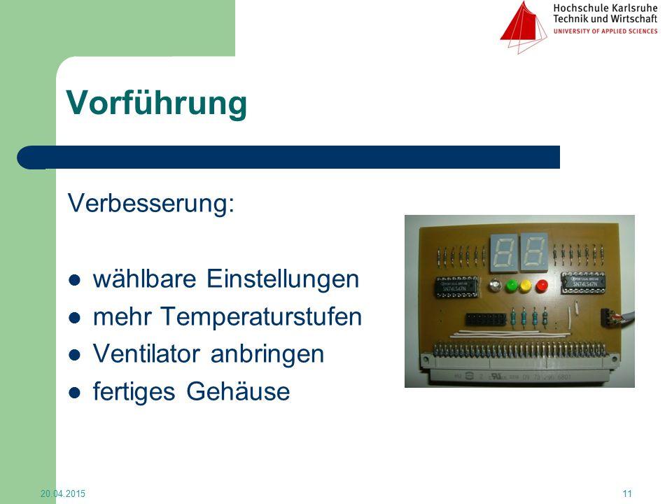 Vorführung Verbesserung: wählbare Einstellungen mehr Temperaturstufen