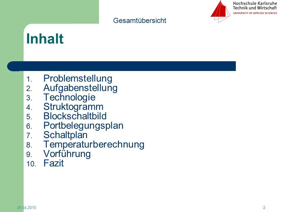 Inhalt Problemstellung Aufgabenstellung Technologie Struktogramm