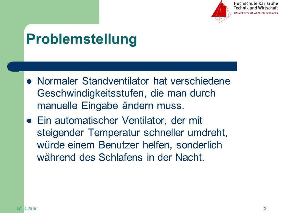 Problemstellung Normaler Standventilator hat verschiedene Geschwindigkeitsstufen, die man durch manuelle Eingabe ändern muss.