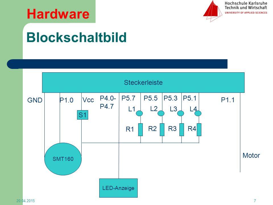 Hardware Blockschaltbild Steckerleiste S1 P5.7 P5.5 P5.3 P5.1 L1 L2 L3