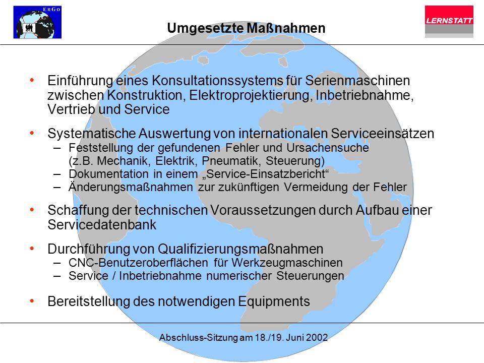 Systematische Auswertung von internationalen Serviceeinsätzen