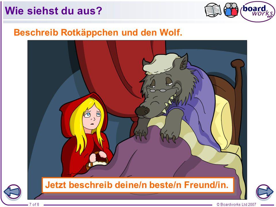 Wie siehst du aus Beschreib Rotkäppchen und den Wolf.