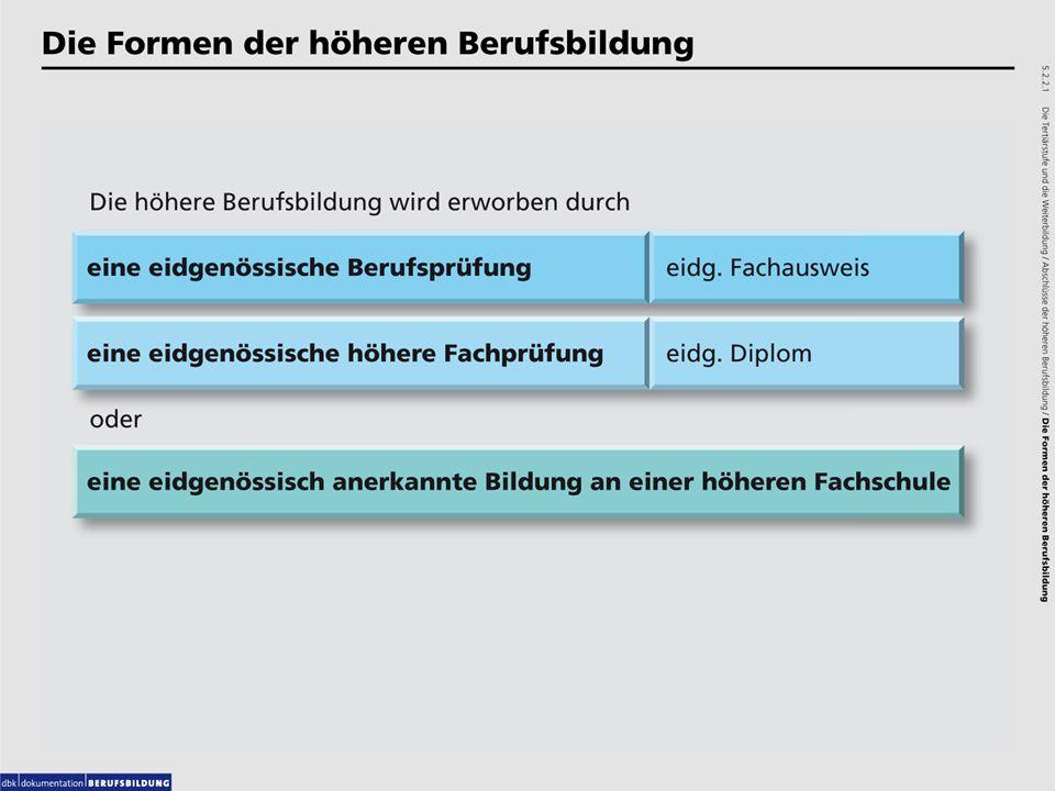 Grafiken: 5.2.2.1 Die Formen der höheren Berufsbildung. 5.2.2.2 Die eidg. höhere Fachprüfung.