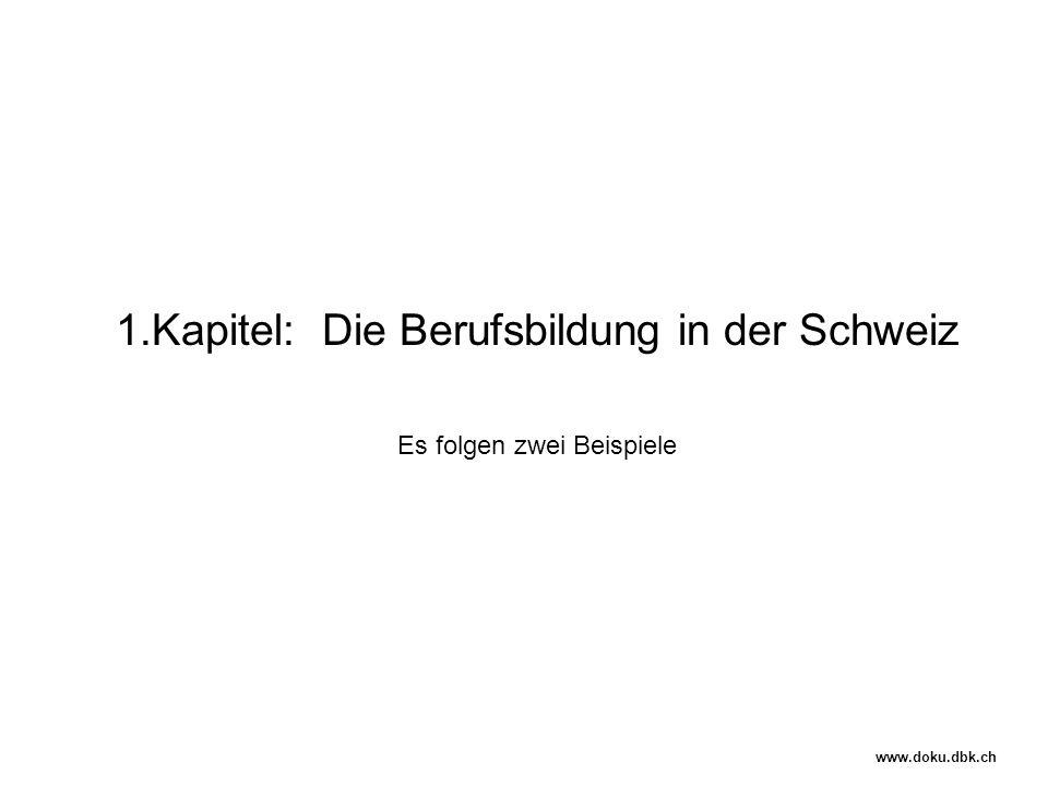 1.Kapitel: Die Berufsbildung in der Schweiz Es folgen zwei Beispiele