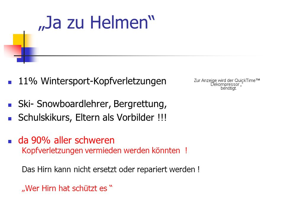 """Ja zu Helmen 11% Wintersport-Kopfverletzungen"