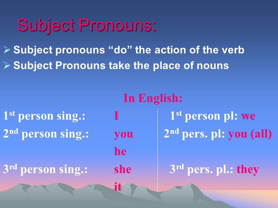 Subject Pronouns: In English: 1st person sing.: I 1st person pl: we