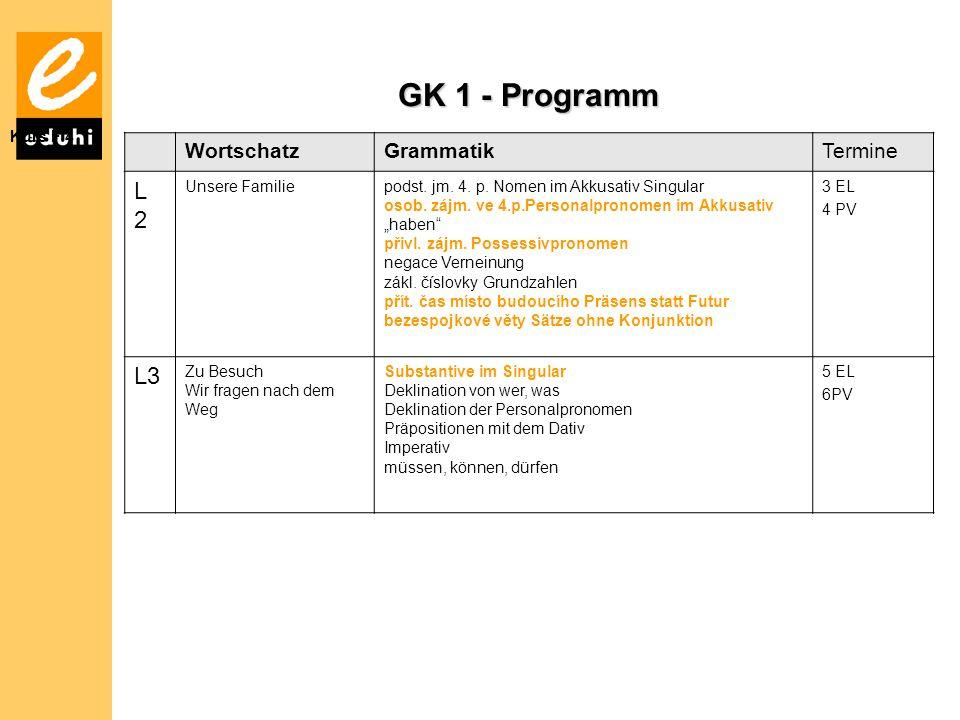 GK 1 - Programm L 2 L3 Wortschatz Grammatik Termine Kurs F 4