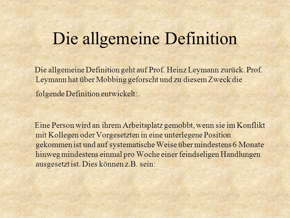 Die allgemeine Definition
