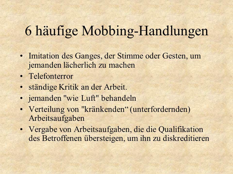 6 häufige Mobbing-Handlungen