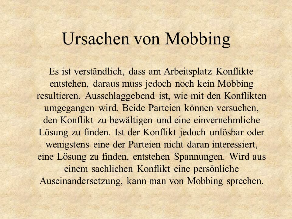 Ursachen von Mobbing