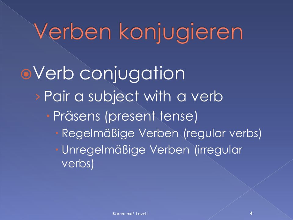 Verben konjugieren Verb conjugation Pair a subject with a verb