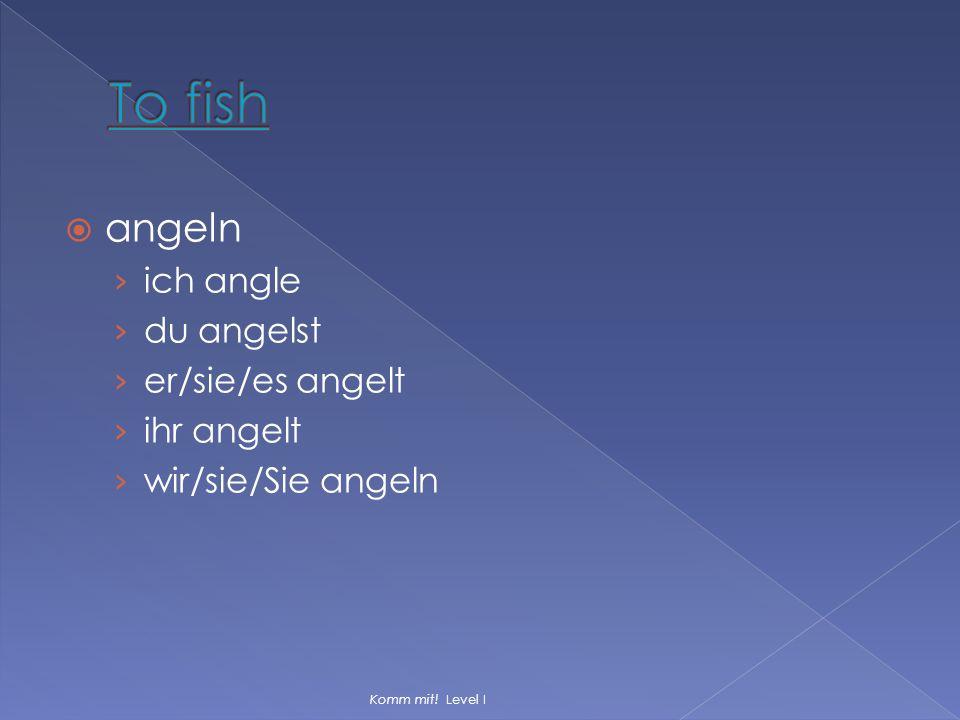 To fish angeln ich angle du angelst er/sie/es angelt ihr angelt
