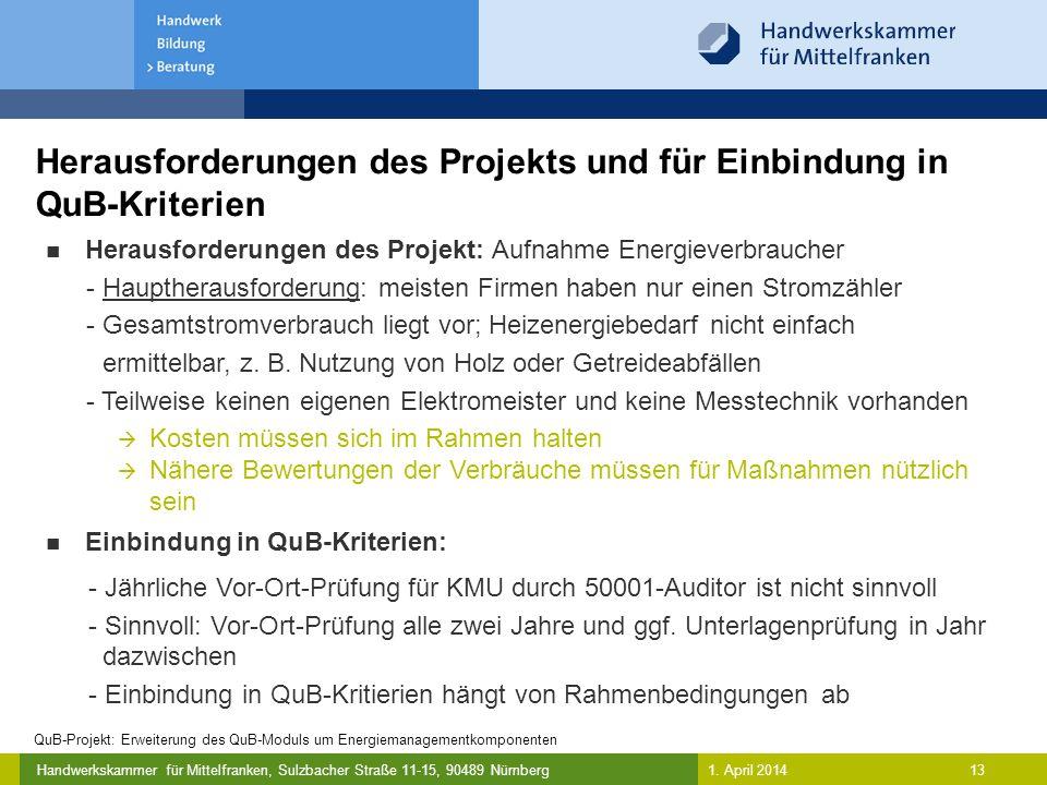 Herausforderungen des Projekts und für Einbindung in QuB-Kriterien