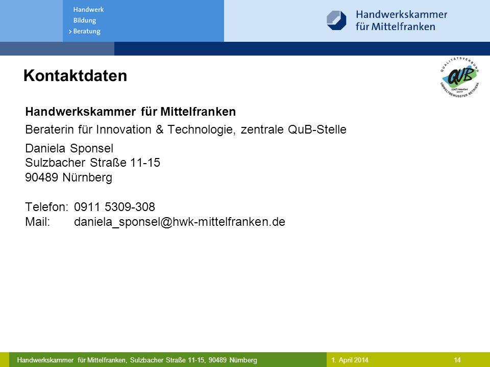 Kontaktdaten Handwerkskammer für Mittelfranken