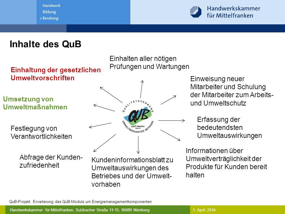 Inhalte des QuB Einhalten aller nötigen Prüfungen und Wartungen