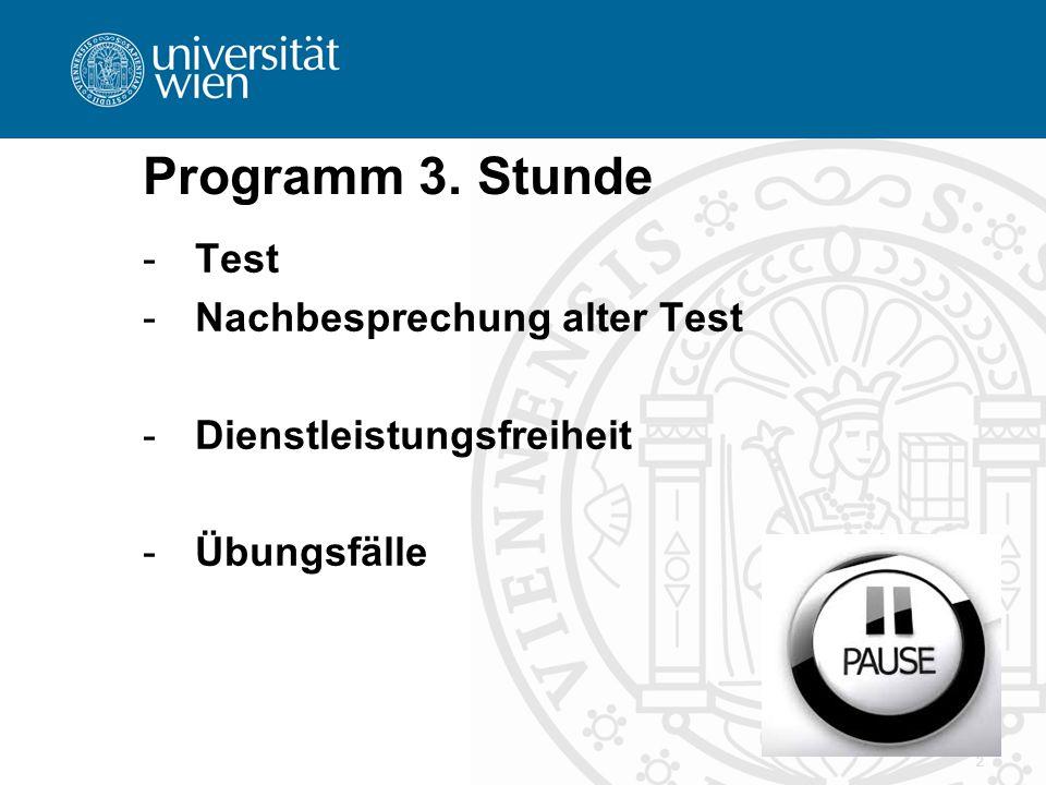 Programm 3. Stunde Test Nachbesprechung alter Test