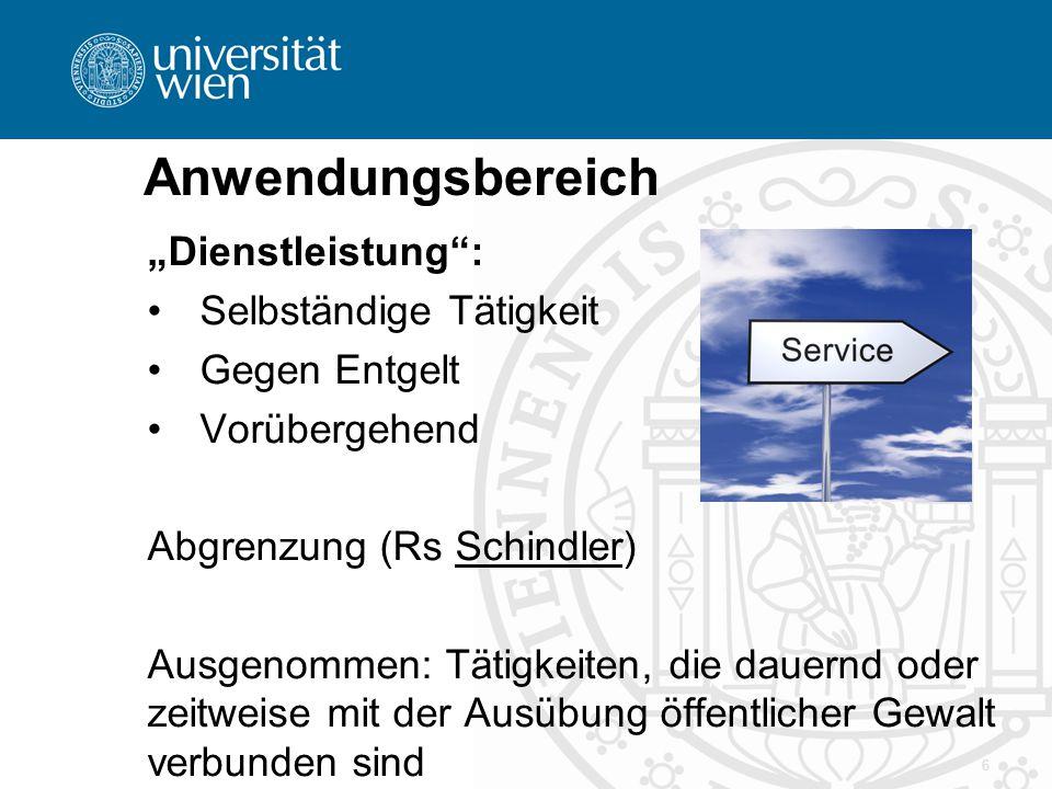 """Anwendungsbereich """"Dienstleistung : Selbständige Tätigkeit"""