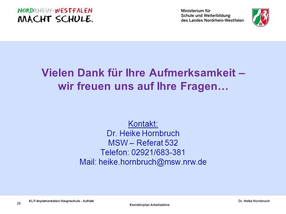 Vielen Dank für Ihre Aufmerksamkeit – wir freuen uns auf Ihre Fragen… Kontakt: Dr. Heike Hornbruch MSW – Referat 532 Telefon: 02921/683-381 Mail: heike.hornbruch@msw.nrw.de