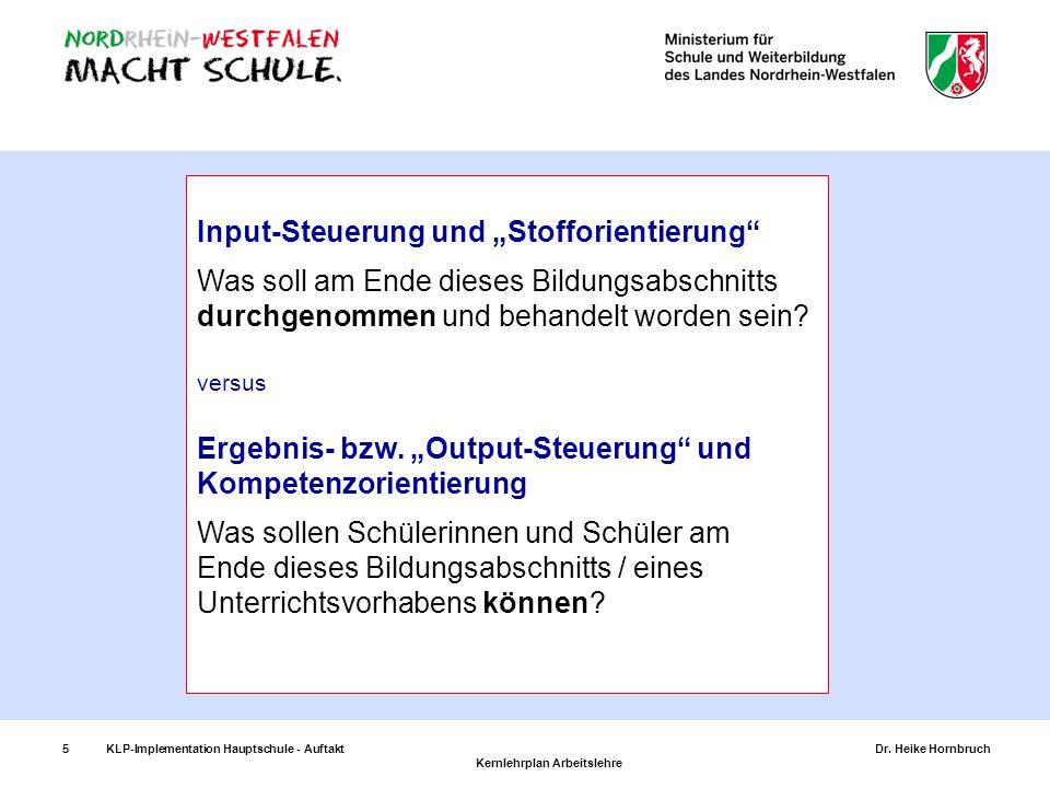 """Input-Steuerung und """"Stofforientierung"""