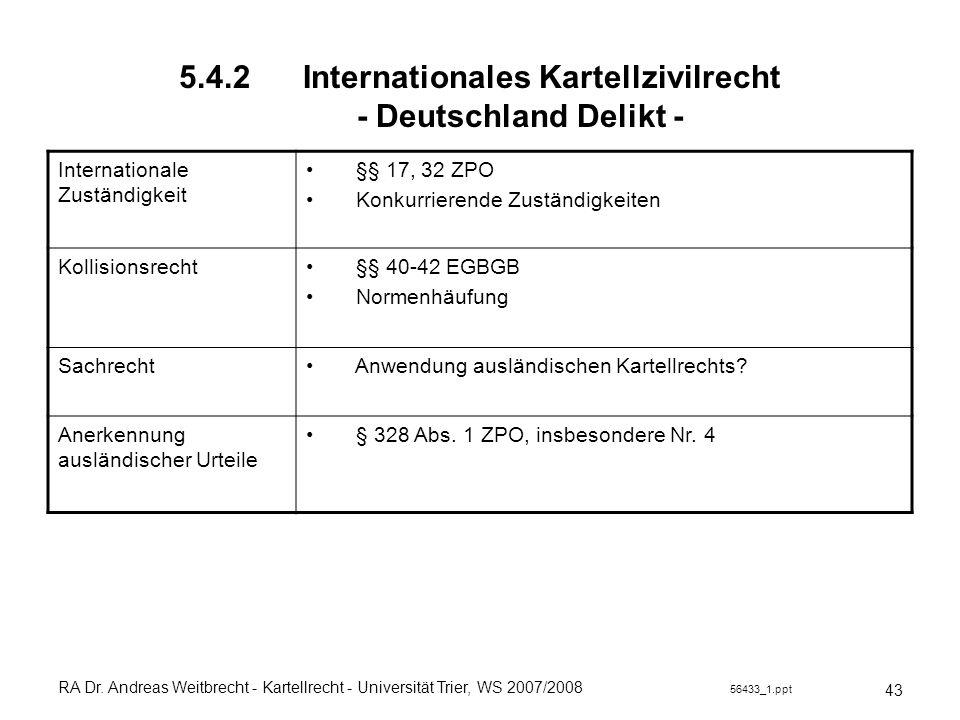 5.4.2 Internationales Kartellzivilrecht - Deutschland Delikt -