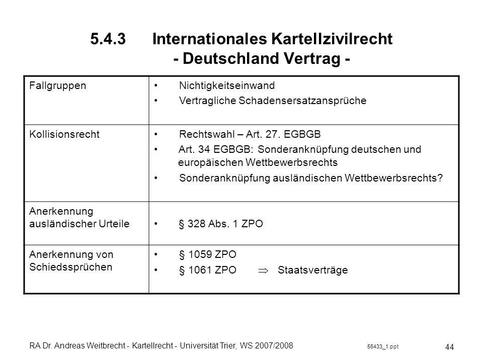 5.4.3 Internationales Kartellzivilrecht - Deutschland Vertrag -