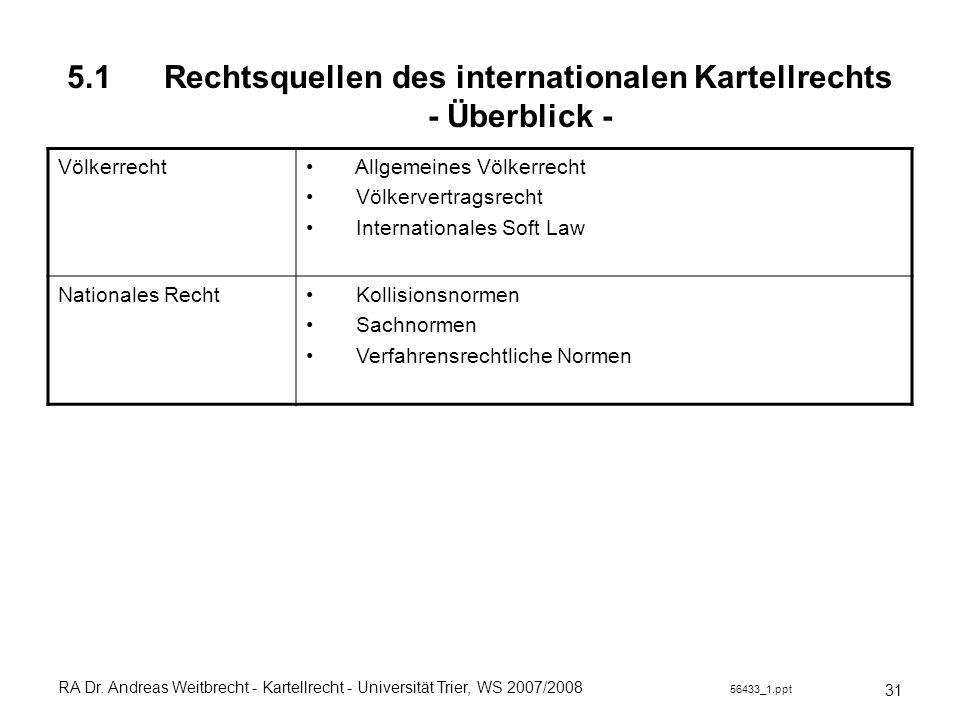 5.1 Rechtsquellen des internationalen Kartellrechts - Überblick -