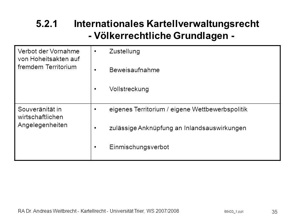 5.2.1 Internationales Kartellverwaltungsrecht - Völkerrechtliche Grundlagen -