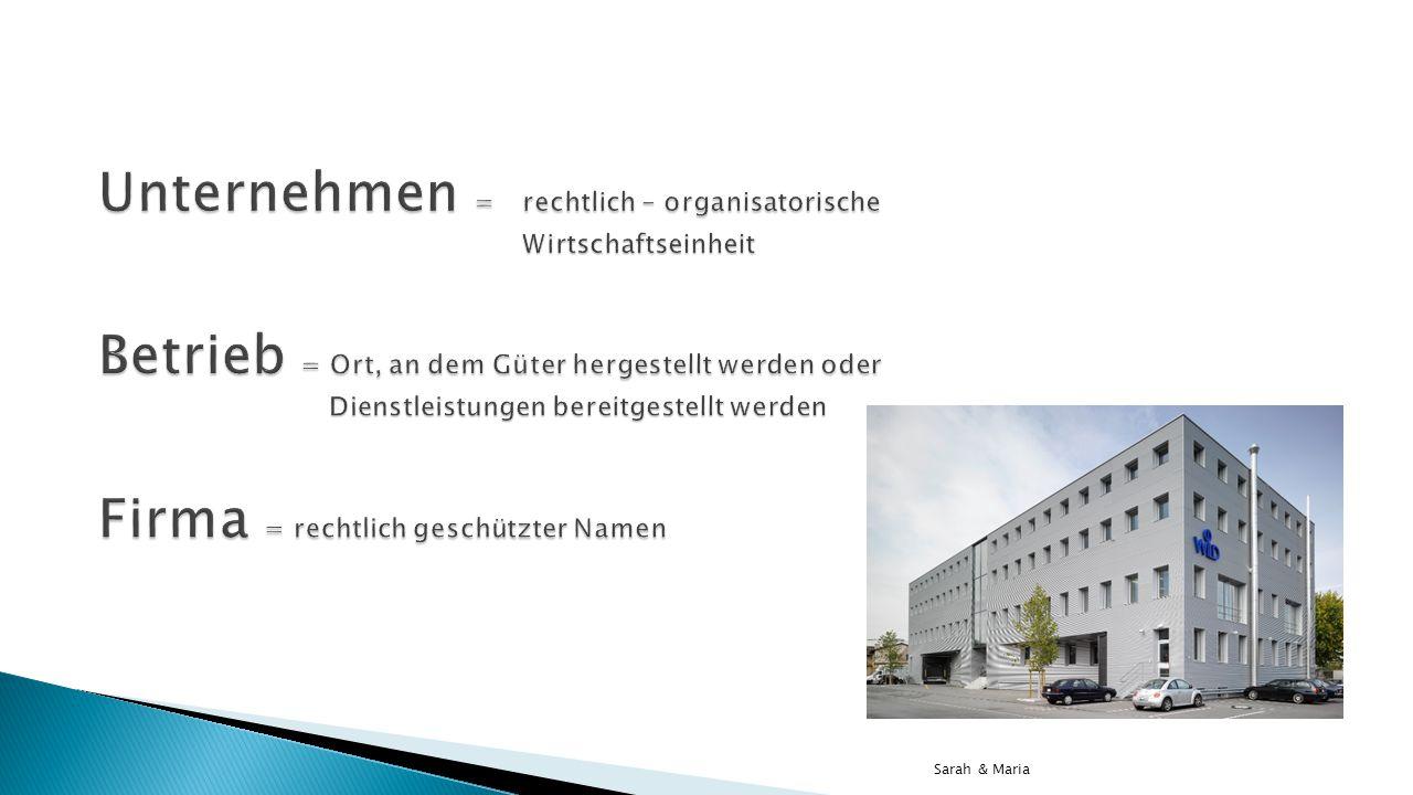 Unternehmen =. rechtlich – organisatorische
