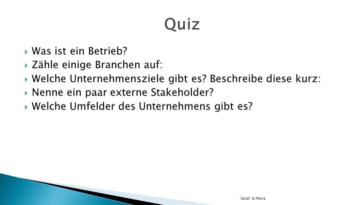Quiz Was ist ein Betrieb Zähle einige Branchen auf: