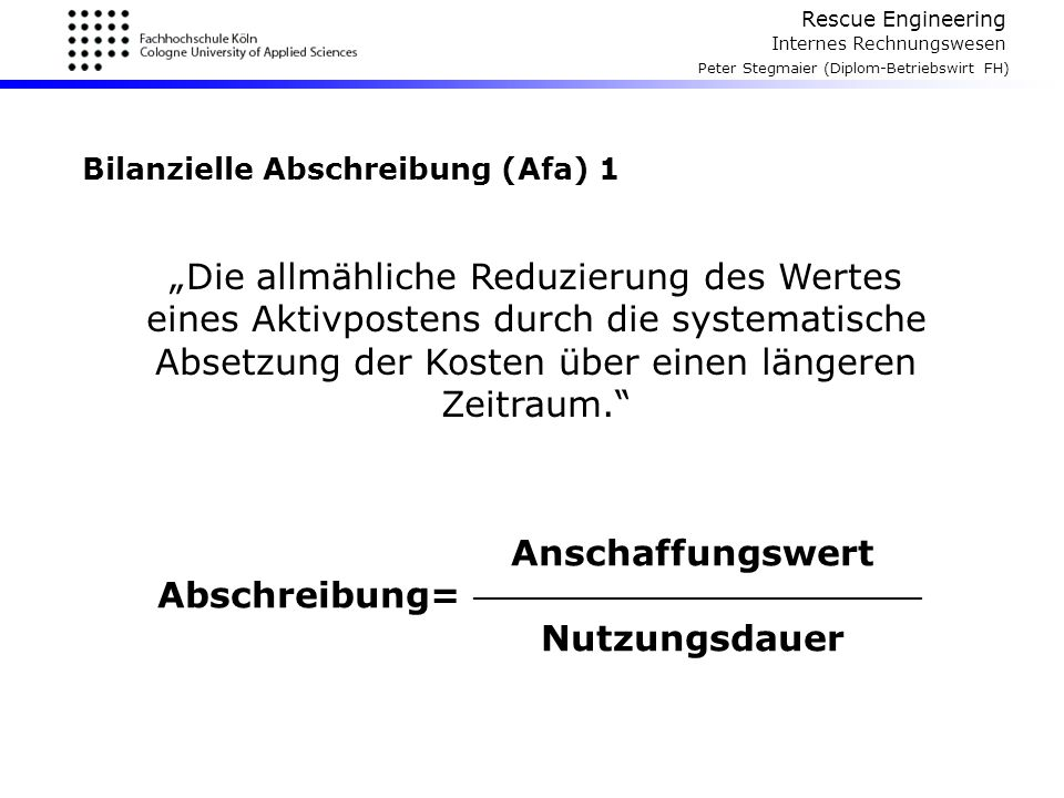 Bilanzielle Abschreibung (Afa) 1