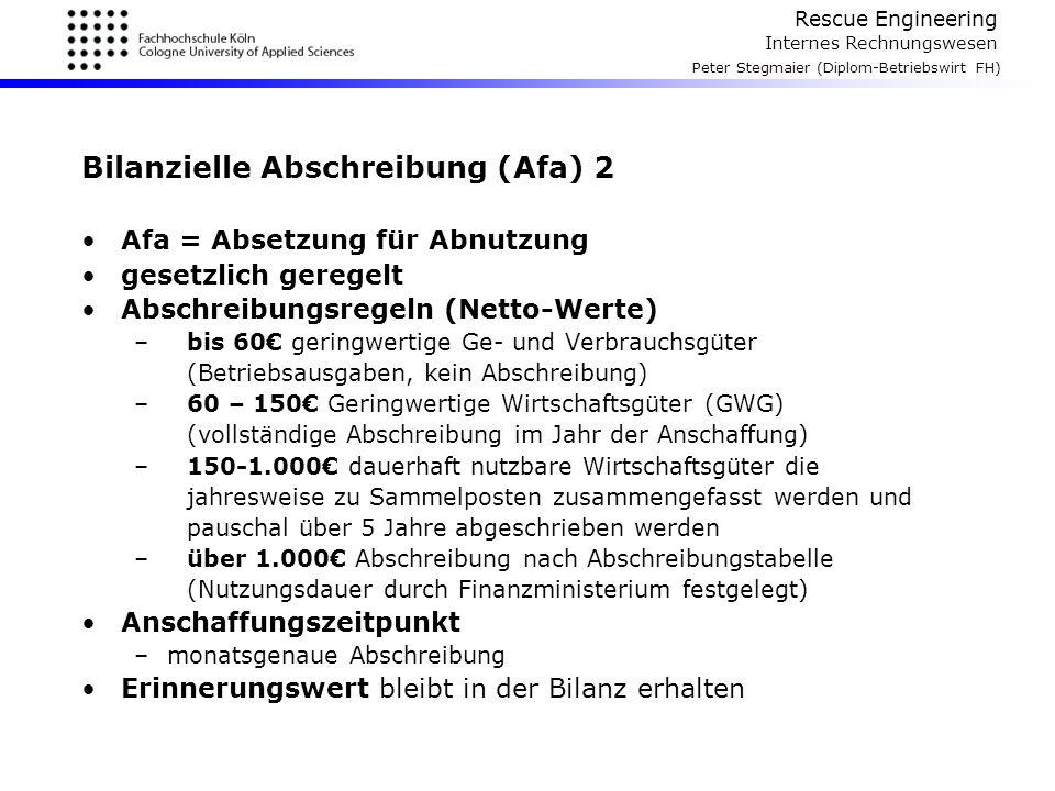 Bilanzielle Abschreibung (Afa) 2
