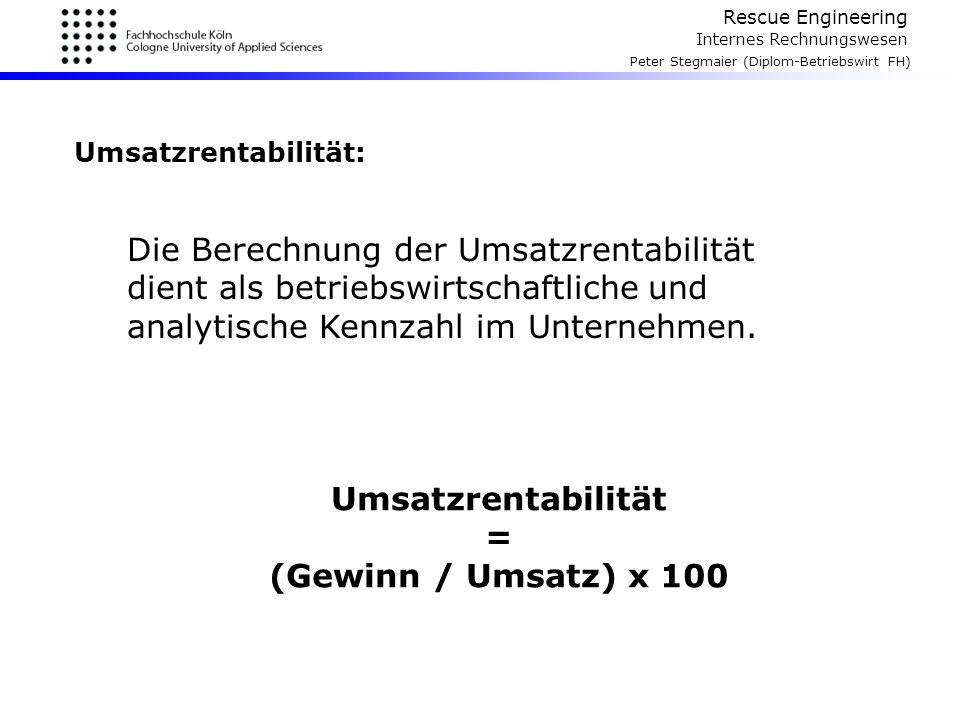 Umsatzrentabilität = (Gewinn / Umsatz) x 100