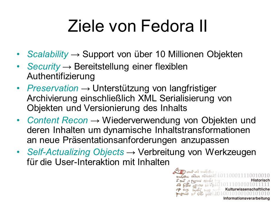 Ziele von Fedora II Scalability → Support von über 10 Millionen Objekten. Security → Bereitstellung einer flexiblen Authentifizierung.