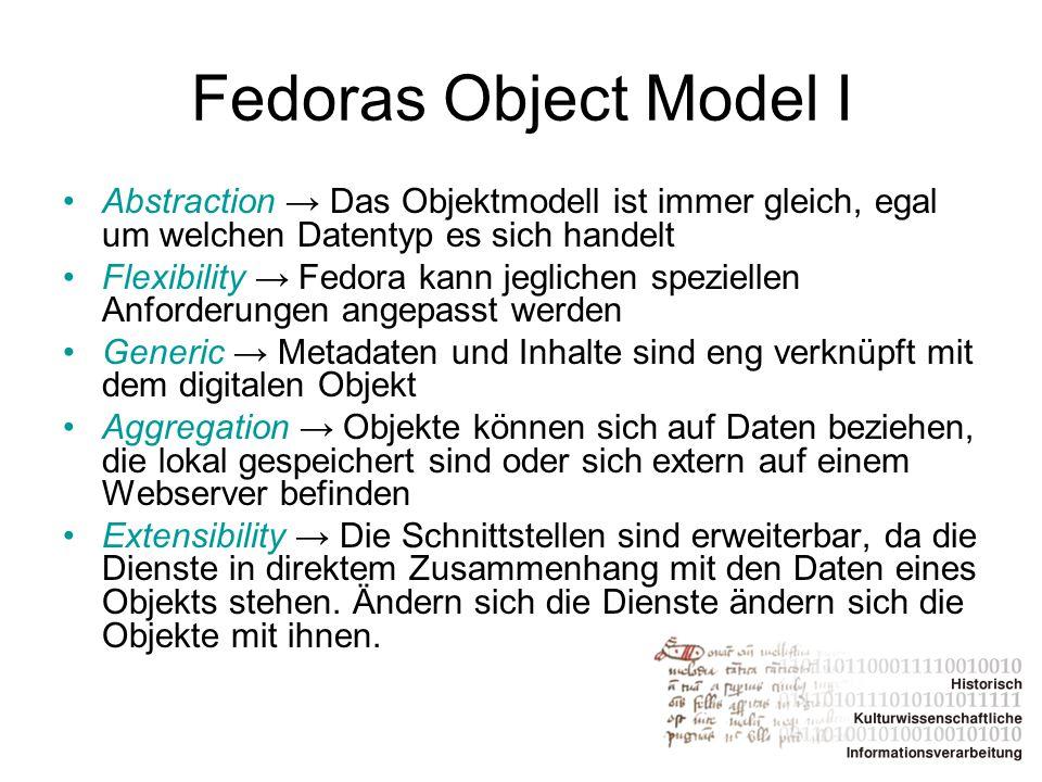 Fedoras Object Model I Abstraction → Das Objektmodell ist immer gleich, egal um welchen Datentyp es sich handelt.
