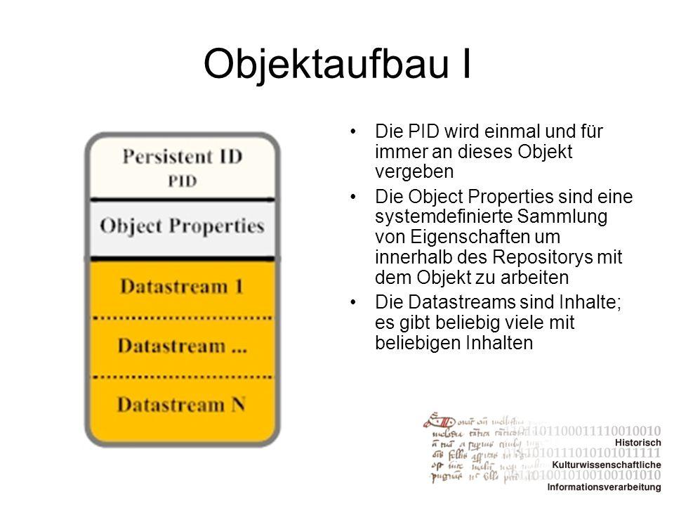 Objektaufbau I Die PID wird einmal und für immer an dieses Objekt vergeben.