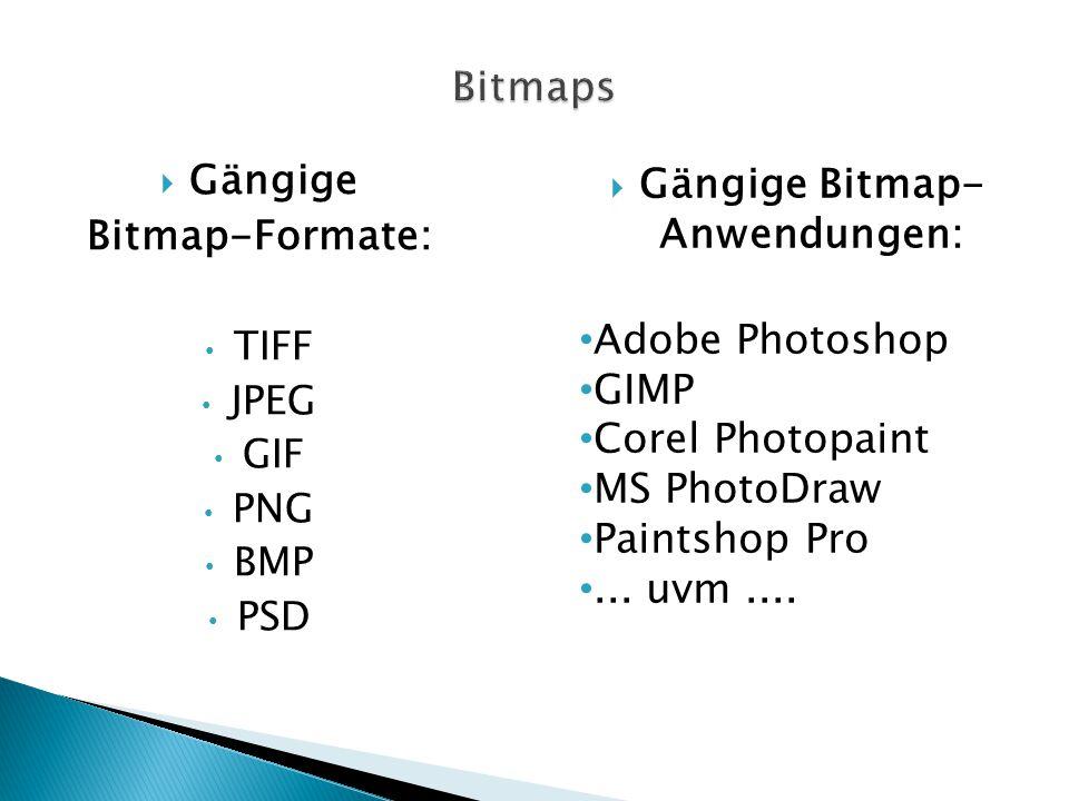 Gängige Bitmap- Anwendungen: