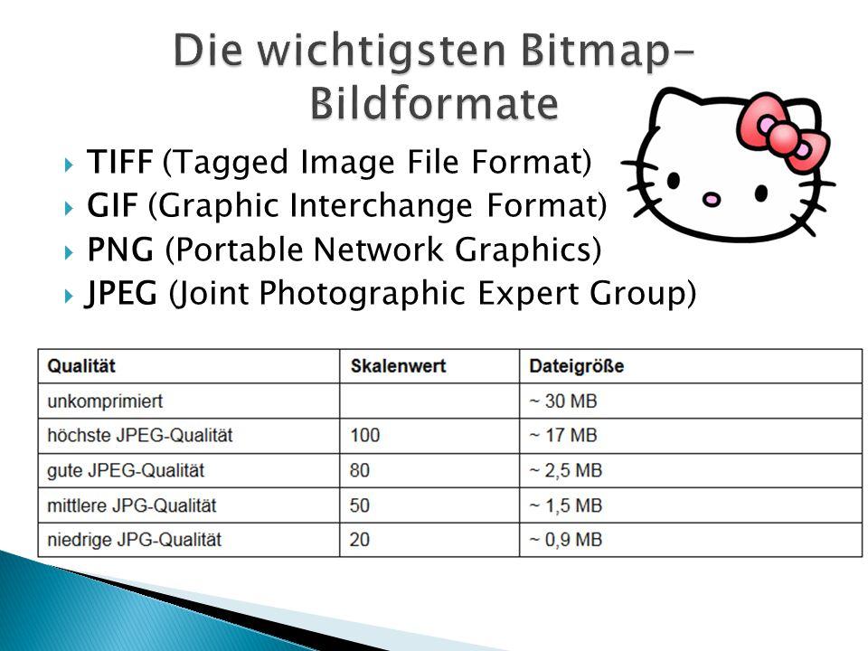 Die wichtigsten Bitmap-Bildformate