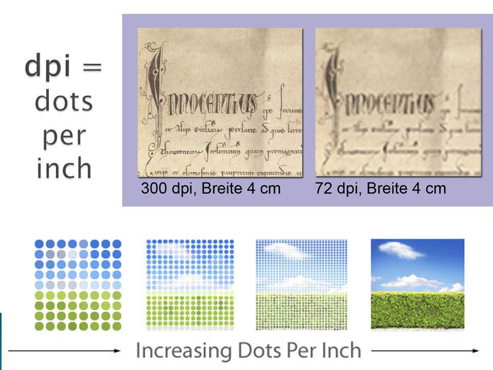dpi = dots per inch