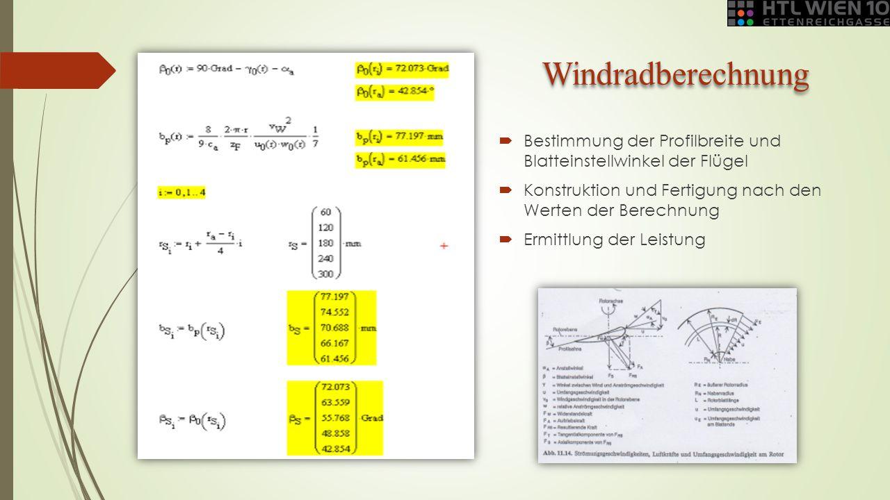 Windradberechnung Bestimmung der Profilbreite und Blatteinstellwinkel der Flügel. Konstruktion und Fertigung nach den Werten der Berechnung.