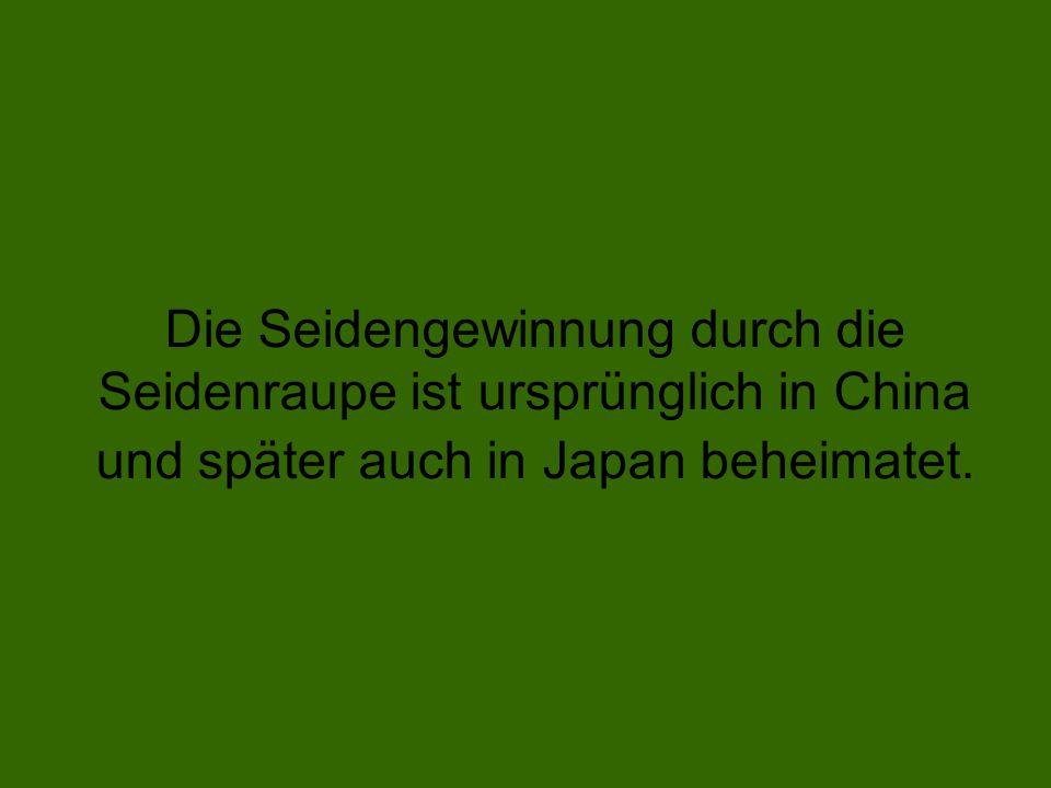 Die Seidengewinnung durch die Seidenraupe ist ursprünglich in China und später auch in Japan beheimatet.
